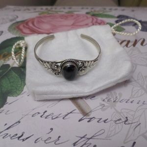 Navajo Sterling Silver Cuff with Black Onyx Stone